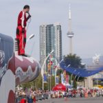 """TORONTO ,Ontario, August'05 -- HUMAN CANNONBALL -- David """"the Bullet"""" Smith on the barrel of his cannon chatting to the crowd and posing before his launchphoto by Norm Betts for RexFeatures416 460 8743normbetts@canadianphotographer.com"""
