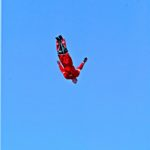 """TORONTO ,Ontario, August'05 -- HUMAN CANNONBALL -- David """"the Bullet"""" Smith flies thru  the air toward his landing net  photo by Norm Betts for RexFeatures 416 460 8743 normbetts@canadianphotographer.com"""