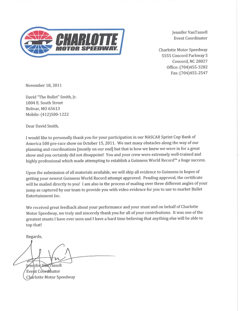Letter of Recommendation from Charlotte Motor Speedway